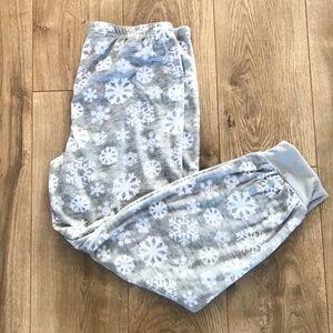 Women's Fleece Pant Pajama Snowflake Bottoms NWT